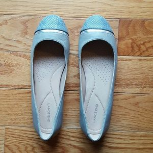Lands End gray leather flats